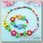 Набор детский Выбражулька 2 предмета: бусы, браслет, цветочное настроение, цвет МИКС - бижутерия