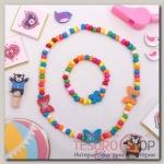 Набор детский Выбражулька 2 предмета: бусы, браслет, бабочки нежность, цвет бело-розовый - бижутерия