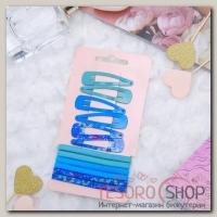 Набор для волос Летний день 6 резинок, 6 невидимок 5 см бирюза - бижутерия