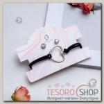 Набор 2 предмета: браслет, пуссеты Модерн сердце, цвет чёрный в серебре - бижутерия
