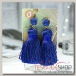 Серьги Кисти аккорд, цвет синий, L кисти 5,5 см - бижутерия