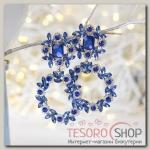 Серьги висячие со стразами Цветочный изыск, цвет синий в серебре - бижутерия