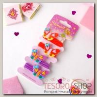 Резинка для волос Весёлый глянец (набор 4 шт) бабочки с сердечками - бижутерия