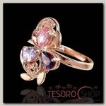 """Кольцо """"Самоцвет"""", позолота, цвет фиолетово-розовый, размер МИКС"""
