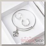 Набор детский Выбражулька 3 пр: браслет, 2 кольца, вишенки, цвет белый в серебре - бижутерия