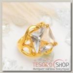 Кольцо Классический мотив квадрат в ажуре, цвет белый в золоте, размер 17,18,19 МИКС
