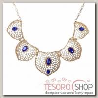Колье Арабика лепесток, цвет бело-синий в матовом золоте - бижутерия