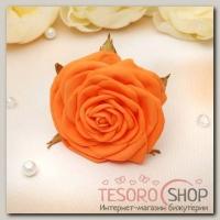 Шпилька для волос Изящная роза 8 см оранжевая - бижутерия