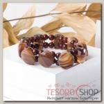 Браслет пуговка через шарики Агат, цвет коричневый - бижутерия