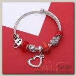 Браслет-пружинка Марджери, цвет красный в серебре - бижутерия