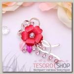 """Брошь """"Цветочная роса"""", цвет розовый в серебре"""