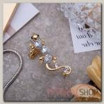 Серьга Каффа ящерица, цвет белый в золоте - бижутерия
