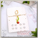 Гарнитур 5 предметов: 4 пары пуссет, кулон Цветочек, цвет красно-зелёный в золоте - бижутерия