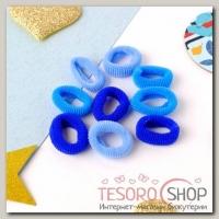 Резинка для волос Махрушка (набор 72 шт) 1,5 см, синие оттенки - бижутерия
