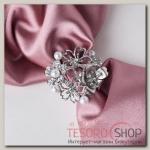 Кольцо для платка Цветы, цвет белый в серебре