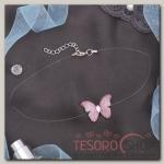 Чокер Butterfly на леске, цвет розовый в серебре - бижутерия