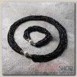 Набор 2 предмета: бусы, браслет Хрусталь с бисером, цвет чёрный - бижутерия