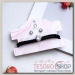 Набор 2 предмета: браслет, пуссеты Модерн кристалл, цвет чёрный в серебре - бижутерия