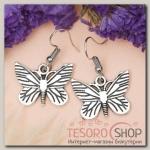 Серьги металл Любовь бабочки, цвет чернёное серебро - бижутерия