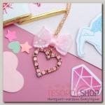 """Кулон детский """"Выбражулька"""" кристальное сердце с бантом, цвет розовый в золоте - бижутерия"""