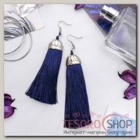 Серьги Кисти рандеву, цвет тёмно-синий в серебре, длина кисти 9 см - бижутерия