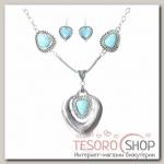 Набор 2 предмета: серьги, колье Бирюзовый мир сердце, цвет голубой в серебре - бижутерия