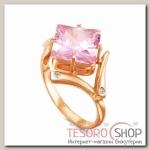 Кольцо Геометрия, позолота, цвет розовый, 17 р-р