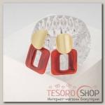 Серьги пластик Комильфо, цвет красный в золоте - бижутерия