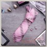 """Набор мужской """"Стиль"""" галстук 145x5см, запонки, полосы узкие, цвет розово-серый - бижутерия"""