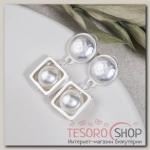 Серьги с жемчугом Фемида, цвет белый в матовом серебре - бижутерия