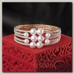 Браслет с жемчугом Иллюминация, цвет белый в розовом золоте - бижутерия