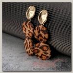 Серьги Сафари леопард, цвет коричнево-чёрный в золоте - бижутерия