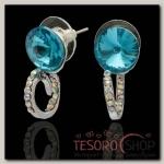 Серьги со стразами Круг грация, цвет радужно-голубой в серебре - бижутерия