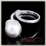 """Кольцо """"Исида"""", безразмерное, цвет белый в чернёном серебре"""
