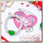 Гарнитур+открытка 2 предмета: кулон, браслет Каролина классика, цвет бело-зелёный в серебре, 40см - бижутерия