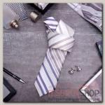 """Набор мужской """"Стиль"""" галстук 145x5см, запонки, полоски, цвет бежево-серый - бижутерия"""