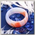 Кольцо гладкое Агат светло-оранжевый 8мм, размер МИКС ( с 17 по 20 размеры)