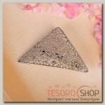 Заколка-автомат Восточный узор, треугольник, серебро - бижутерия