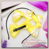 Набор для волос Бантик (2 зажима,1 ободок) желтый - бижутерия