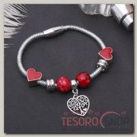 Браслет Марджери на нити, дерево в сердце, цвет красный в серебре - бижутерия