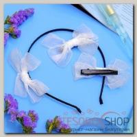 Набор для волос Воздушный (2 зажима,1 ободок) белый - бижутерия