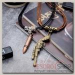 """Кулон ассорти """"Неразлучники"""" пистолет и пуля, цвет чёрно-коричневый - бижутерия"""