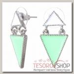 Серьги эмаль Треугольник стиль, цвет бело-мятный в серебре - бижутерия