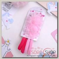 Набор для волос Карапулька (2 зажима,4 резинки) розочки в клеточку, розовый - бижутерия