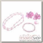 Набор детский Выбражулька 5 предметов: 2 резинки, бусы, браслет, кольцо, цветочек, цвет розовый - бижутерия