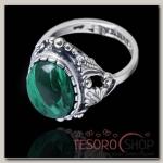 Кольцо Лоза, размер 18, цвет зелёно-белый в чернёном серебре