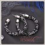 Серьги-кольца Шанталь, цвет серебряно-чёрный - бижутерия