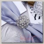 """Кольцо для платка """"Ажур"""" цветы, цвет белый в серебре"""