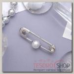 Булавка Бусинка 4см, цвет белый в серебре - бижутерия
