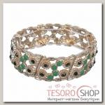 Браслет с эмалью Настроение круги, цвет зелёный в золоте - бижутерия